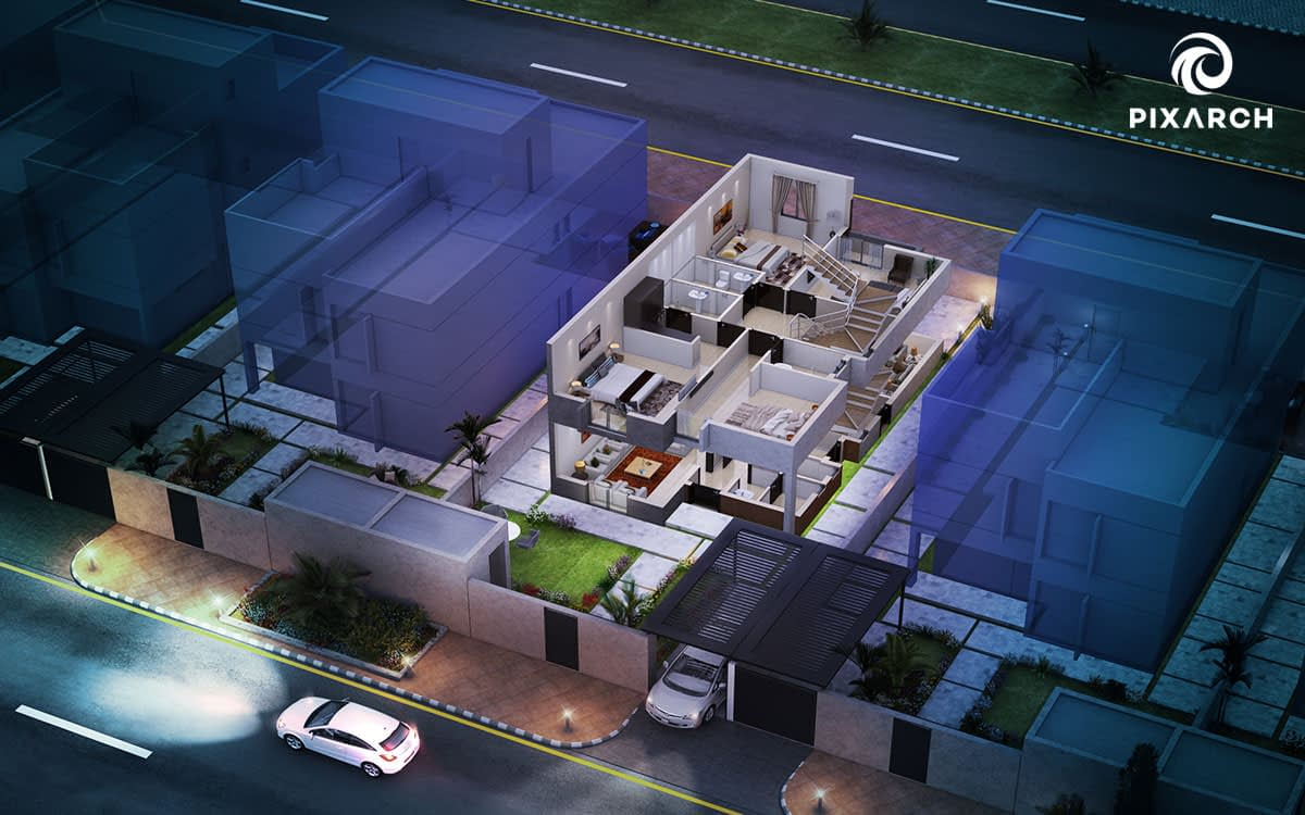 nesaj town house 3d floor plan | Pixarch