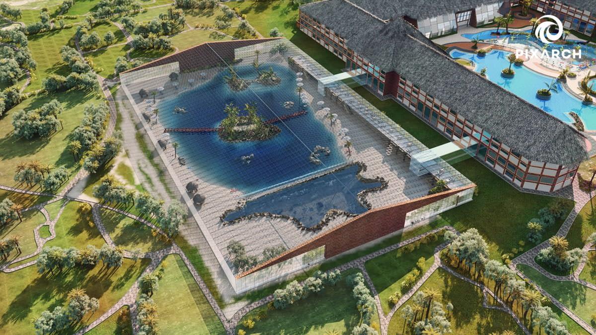 dallas aquatic hotel-resort 3d view   Pixarch