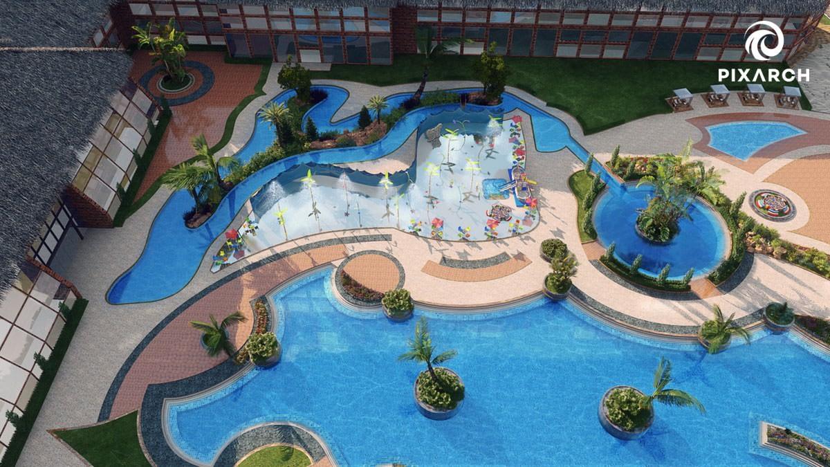 dallas aquatic hotel 3d view   pixarch