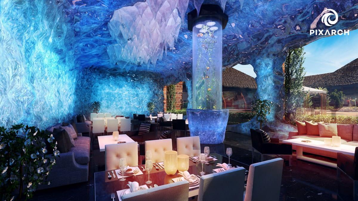 dallas aquatic hotel resort 3d view   Pixarch