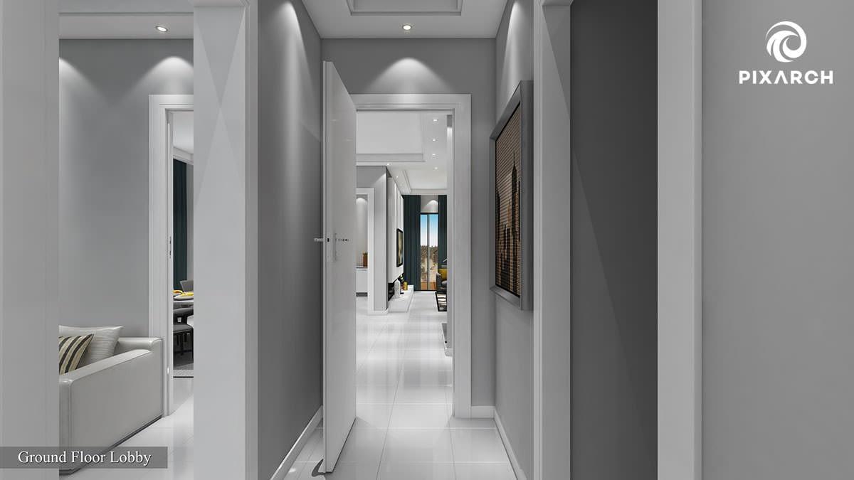 nesaj town house 3d interior view | Pixarch