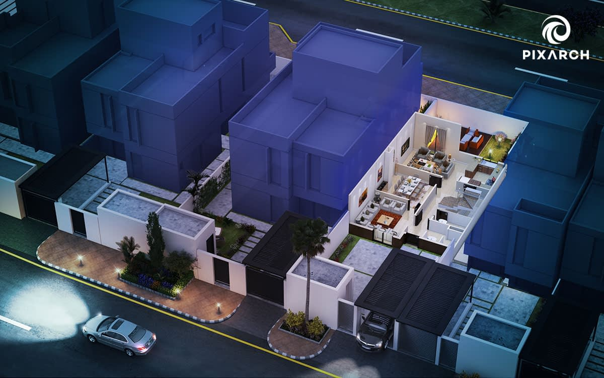 nesaj town house 3d floor plan | Pixarch