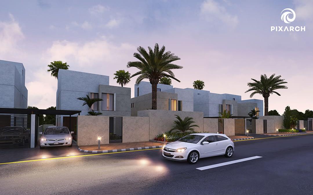 nesaj town house 3d exterior view | Pixarch