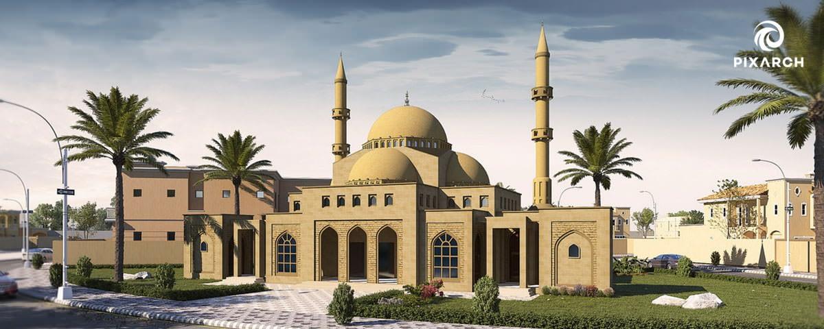 canal palms mosque 3d view | Pixarch